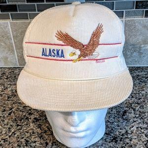 Vintage 1986 Corduroy Alaska Eagle Snapback Hat